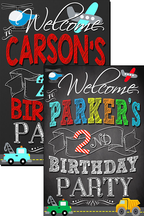 Transportation Bday Welcome Sign