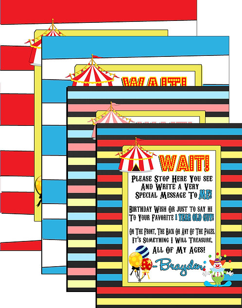 Circus Birthday Guestbook