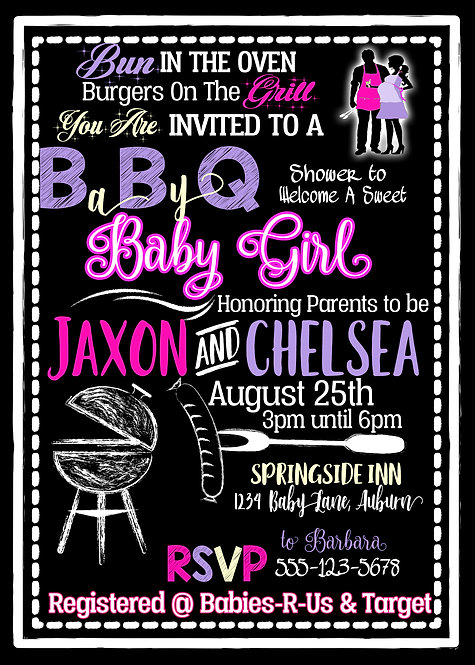 BabyQ Shower Invite for girl