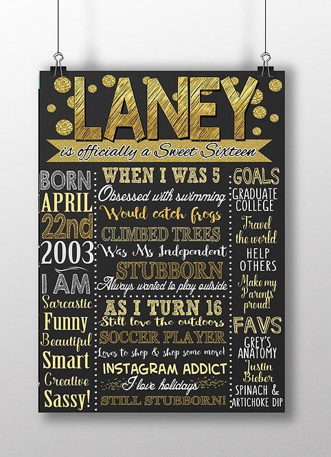Black & Gold Sweet 16 Birthday
