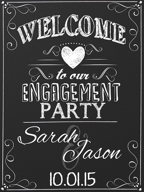 Chalkboard Engagement Party Sign