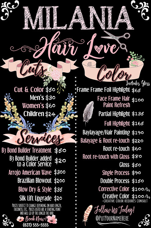Shabby Chic Hair Salon Menu