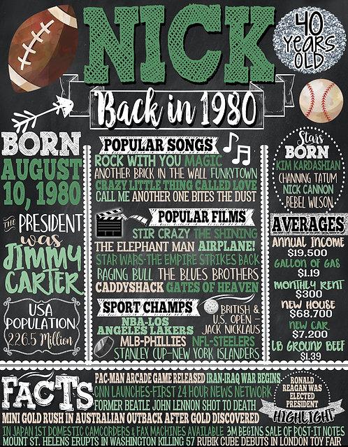 Mens 40th Birthday Sports