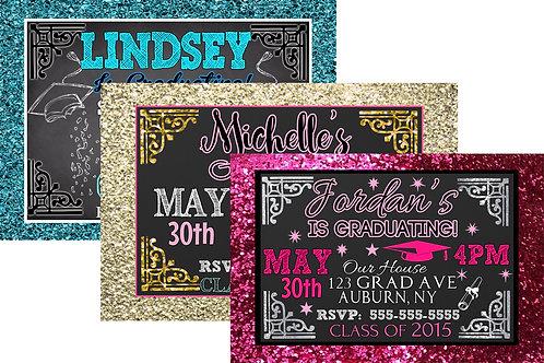 Glitter Graduation invites