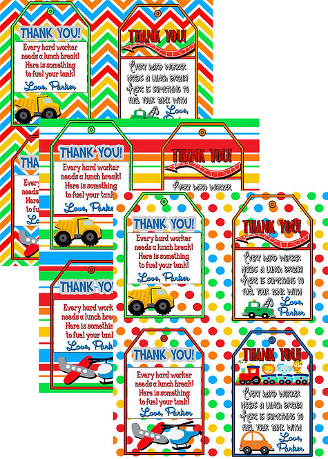 Transportation Thank You Tags