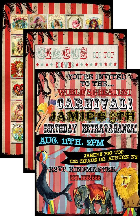 Vintage Carnival Invites