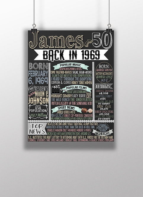 1969 sign for him, 50th