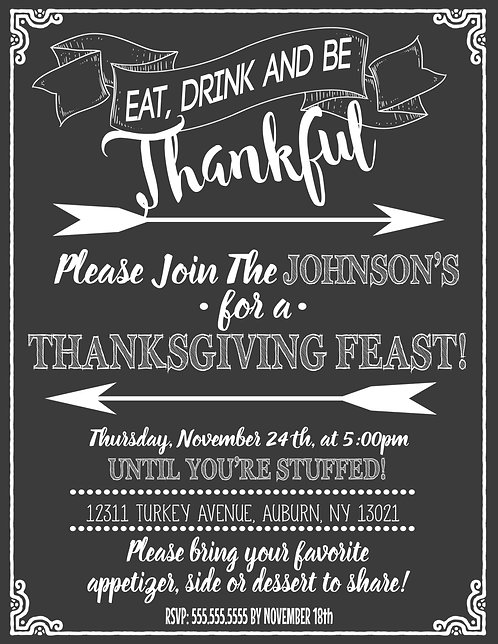 Eat Drink and be Thankful Invites