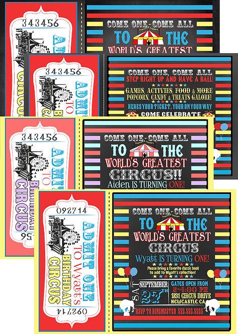 Birthday Circus Invites
