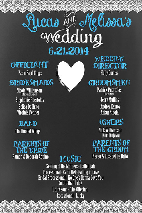 Lace Chalkboard Wedding Programs