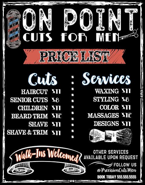 Mens Hair Salon Menu