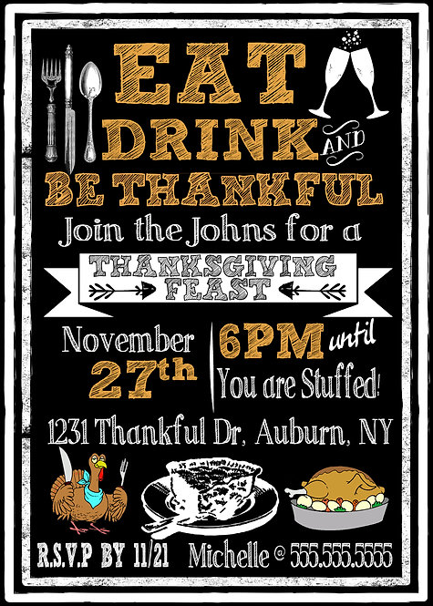 Eat Drink be Thankful Invites