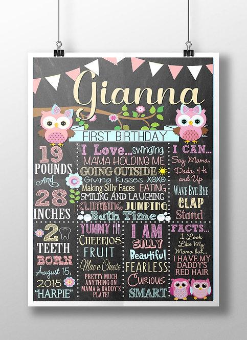 Owl first birthday board