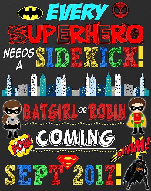 Superhero pregnancy announcement