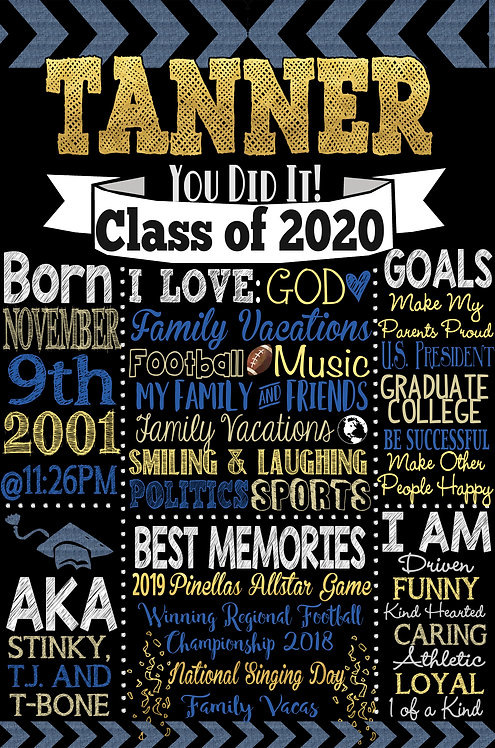 Boys Graduation Board