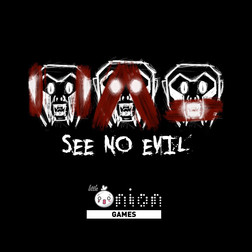See no Evil (Game name) Logo with Variant of little onion games logo