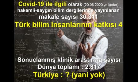 Türkiye BİLİMDE Kovid-19'dan SINIFTA KALDI
