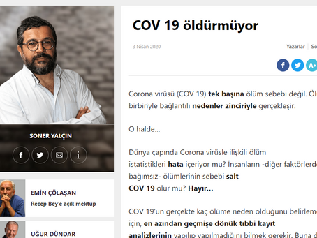 Sözcü Yazarı Soner Yalçın: COV 19 Öldürmüyor