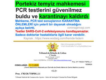 Portekiz temyiz mahkemesi PCR testlerini güvenilmez buldu ve karantinayı kaldırdı