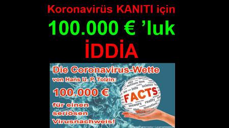 Koronavirüs KANITI için 100.000 € 'luk İDDİA