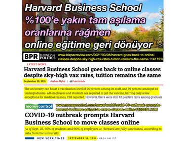 Harvard Business School %100'e yakın tam aşılama oranlarına rağmen online eğitime geri dönüyor!