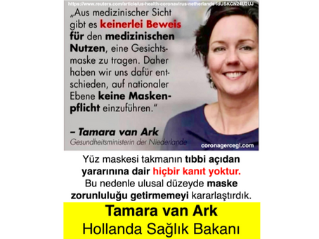 HOLLANDA SAĞLIK BAKANI: Yüz maskesi takmanın tıbbi açıdan yararınına dair hiçbir kanıt yoktur.