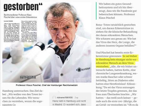 """Adli Tıp Başkanı Prof Klaus Püschel: Önceden Hasta Olmayan """"Tek Bir Kişi Bile"""" Virüsten Ölmüş Değil"""
