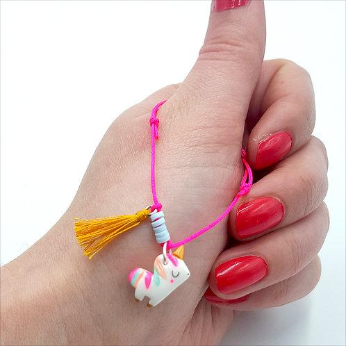 "Bracelet cordon ""Licorne""-rose fluo"
