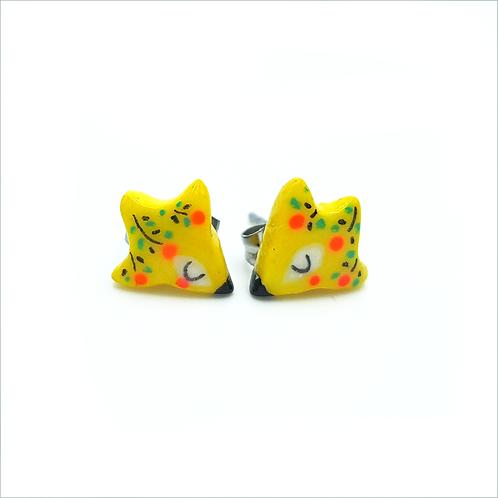 "Puces d'oreilles ""Oizo Folk"" jaune"