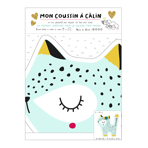 "Kit DIY Coussin à Câlins ""LEO BLEU"""""