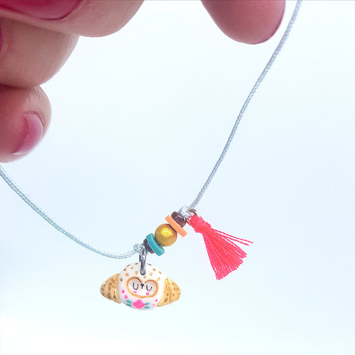 "Bracelet cordon ""Chouette Folk"" mint"