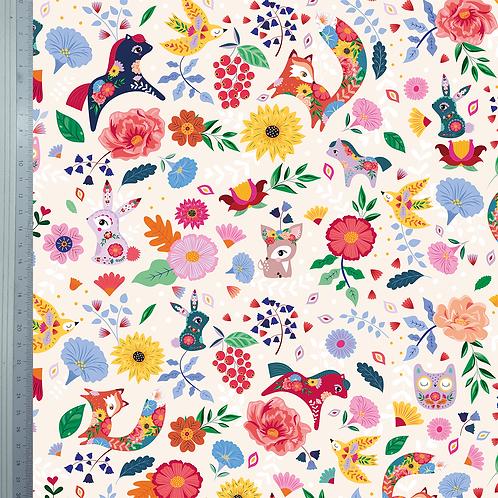 "Coupon tissu ""Folk Pattern"" ECRU 50x140cm"
