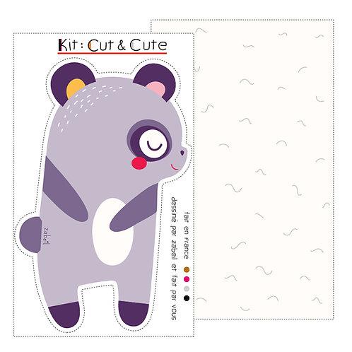 """KIT CUTE pour doudou """"Panda"""" Violet"""