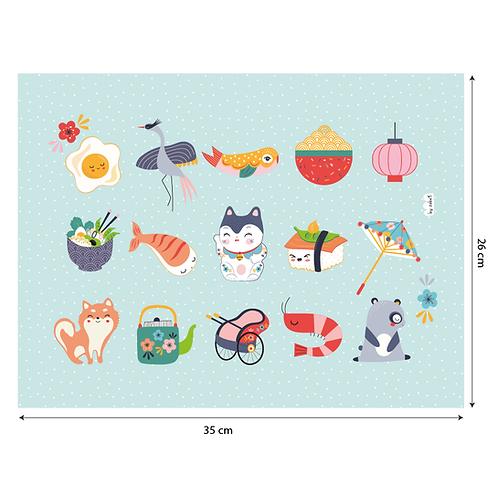 "Coupon tissu motif placé ""SUSHI"" 35x26cm"