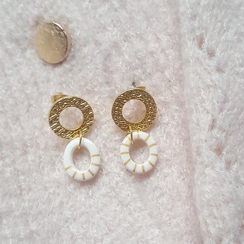 Puces pendantes ZAMAC rond & ovale stripe dorées