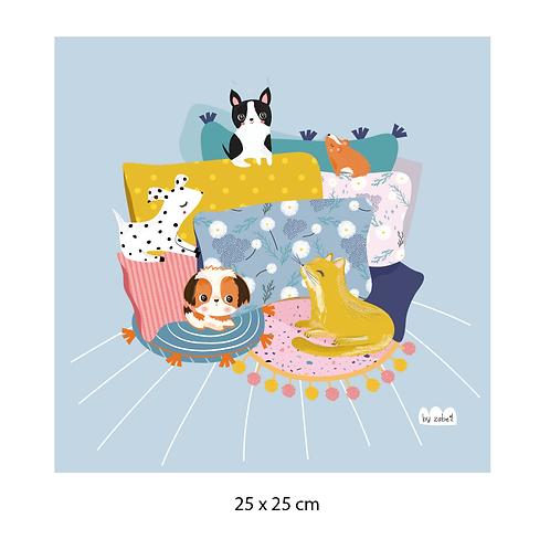"""Coupon tissu motif placé """"CHILL"""" LAVANDE 25x25cm"""