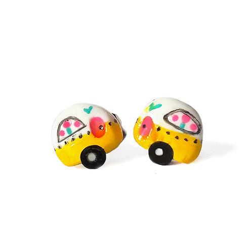 """Puces d'oreilles """"caravanes"""" jaune"""