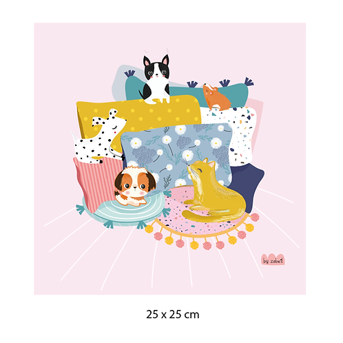 "Coupon tissu motif placé ""CHILL"" Rose 25x25cm"