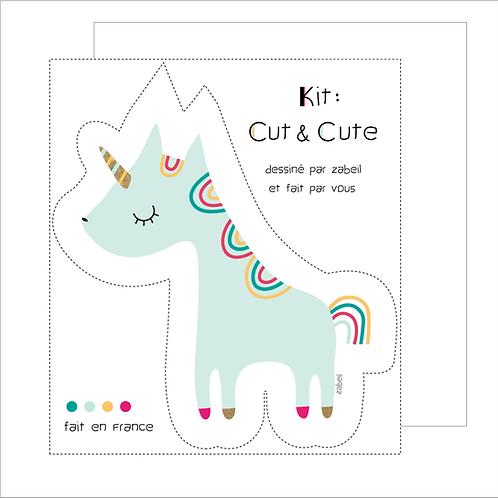 """KIT CUTE pour doudou """"Licorne"""" Mint"""