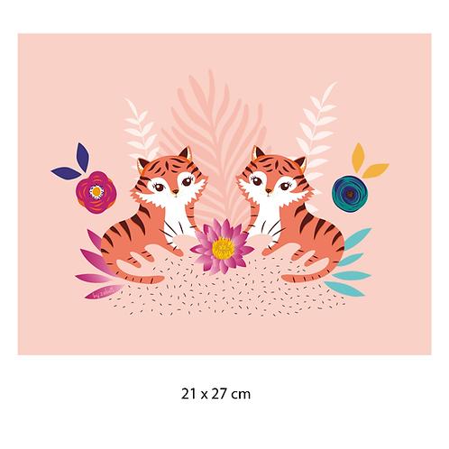 "Coupon tissu motif placé ""TIGRES DUO"" 21x27cm"
