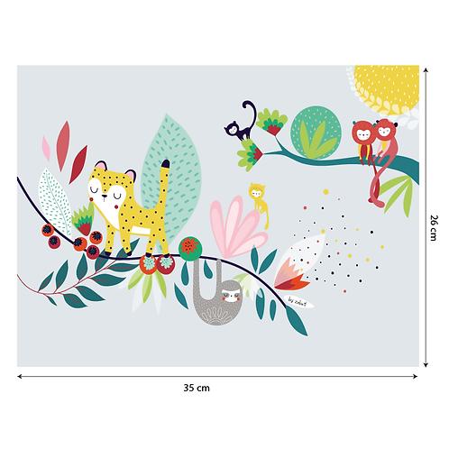 """Coupon tissu motif placé """"JUNGLE"""" 35x26cm"""
