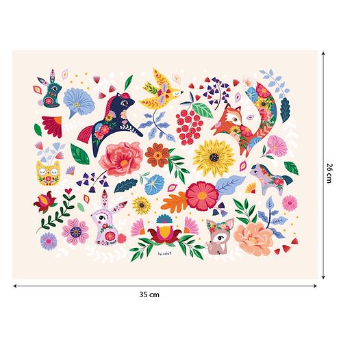 """Coupon tissu motif placé """"Folk Pattern"""" Ecru 35x26cm"""