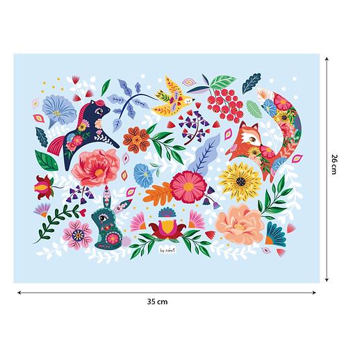 """Coupon tissu motif placé """"Folk Pattern"""" Bleu 35x26cm"""
