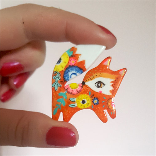 "Réservé Lucienne-Broche ""Renard Folk""+cartes+badge"