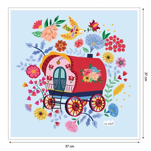 """Coupon tissu motif placé """"Roulotte"""" 37x37cm"""