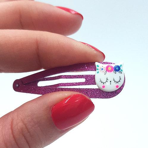 Barrette Fridachat violet pailletté