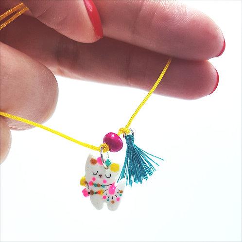 "Bracelet cordon ""Lama"" jaune soleil"