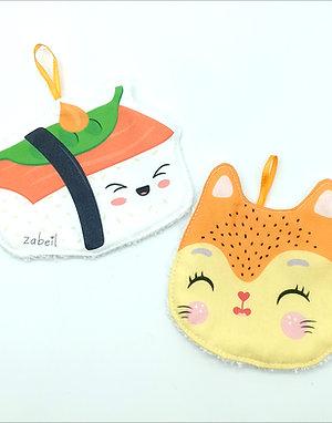 Lot de 2 Lingettes- Sushi + Neko
