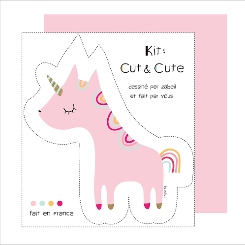 "KIT CUTE pour doudou ""Licorne"" Rose"