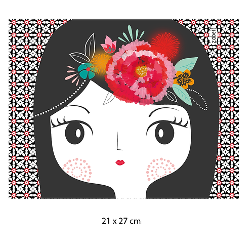"""Coupon tissu motif placé """"FRIDA"""" 21x27cm"""